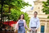 Couple in the Luxembourg garden of Paris