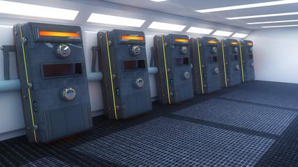 Futuristic interior and capsules