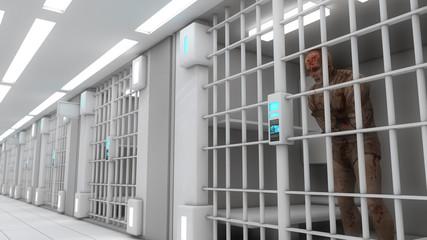 Jail interior and zombie