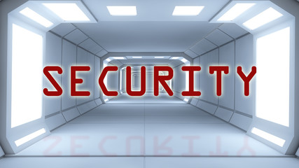 Futuristic interior and Security text