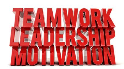 Teamwork, leadership and motivation 3d text