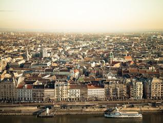View on Budapest from Gellert Hill, Hungary. Houses, river Danub