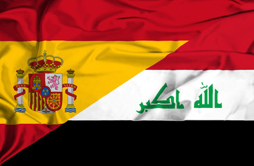 Waving flag of Iraq and Spain