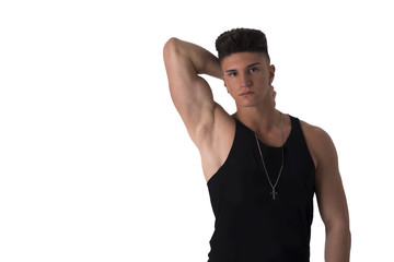 Hip trendy young man with tank top, isolated on white