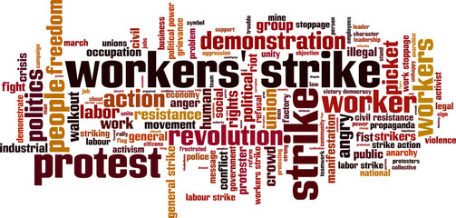Workers strike word cloud concept. Vector illustration