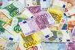 Leinwanddruck Bild - Different Euro banknotes from 5 to 500 Euro