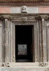 Ancient door in Nasal Chowk Courtyard of Hanuman Dhoka Durbar