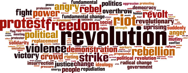 Revolution word cloud concept. Vector illustration