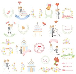 Набор элементов дизайна шаблонов свадьбу на пригласительных