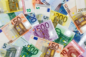 Different Euro banknotes from 5 to 500 Euro