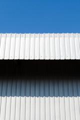 Architectural detail of metal, warehouse roof metal sheet