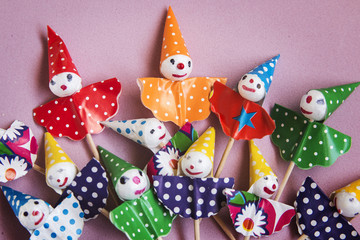 Colorfu paperl clowns for a party