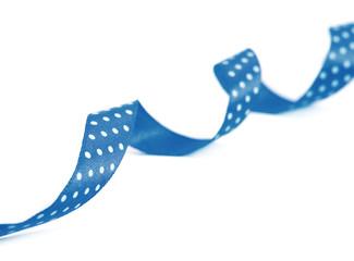 Decorative blue ribbon design. Isolated on white