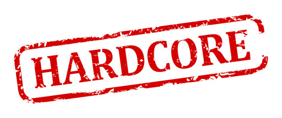 Damaged oval red stamp with the words - hardcore - vector svg