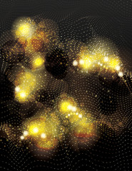abstract vector background with glowing gold glitter effects