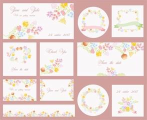 Цветочные баннеры для приглашение на свадьбу или день рождения