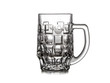 canvas print picture - Beer mug on white background