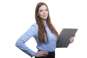 Stolze Pose: Frau im Office Dress mit Akte