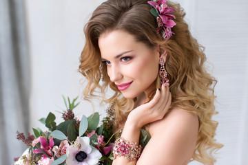 Fashion studio photo of beautiful young girl