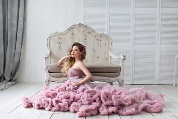 beautiful girl with a pink dress