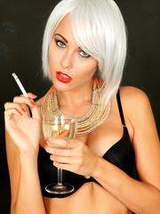 Beautiful Young Woman Smoking