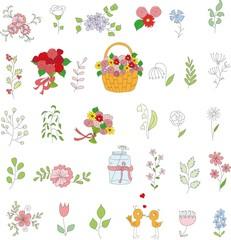 Набор свадебный графического набора цветочные, рука рисунок