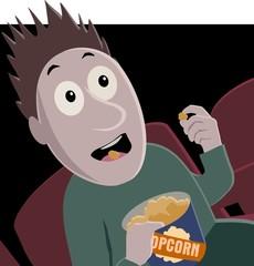 horror film and popcorn