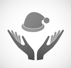 Two hands offering a santa hat