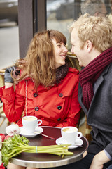 Couple having a date in cafe