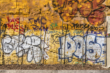 Wall covered with graffiti
