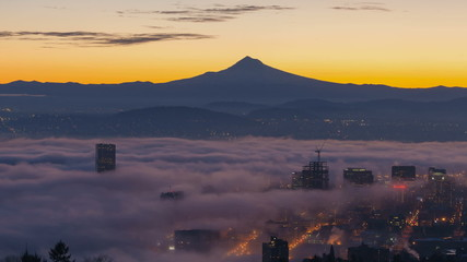 Time Lapse of Fog over Portland OR with Mt. Hood at Sunrise