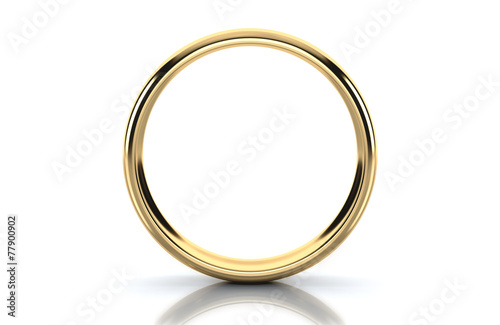 canvas print picture Gold ring isolated on white background