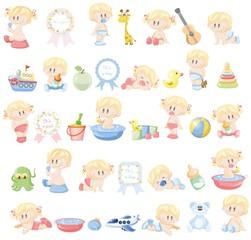 Векторные иллюстрации различных младенцев и аксессуаров малыша