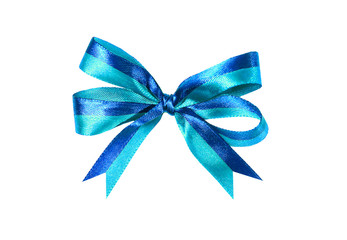 Blue (azure) fabric ribbon and bow isolated
