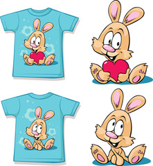 blue  shirt with cute bunny - vector illustration
