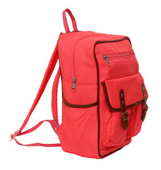 pink school backpack isolated