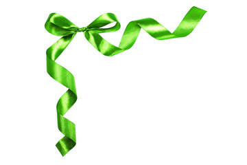 Green ribbon with a bow.Isolated