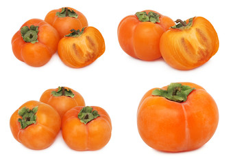 Set ripe persimmons (isolated)