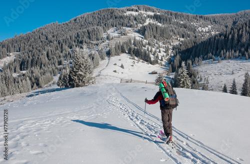 Papiers peints Arctique skier rises uphill