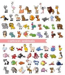 Супер набор векторных милый мультфильм животных