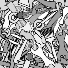 Background from working tools, hammers, brushes, axes, wrenches,
