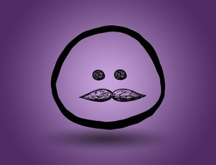 vintage face with a mustache. vector on a purple background