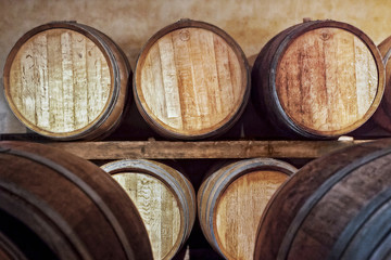 Oak barrels for wine fermentation