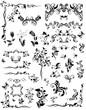 Vintage floral design elements (black and white)