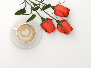 Cappuccino with a bouquet of roses