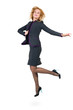 Successful young business woman jumping. Isolated full body on
