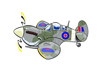 spitfire aviation caricature
