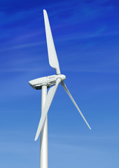 wind turbine against cloudy blue sky