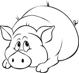 pig cartoon laying isolated on white background