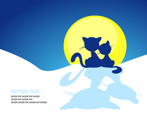 cat silhouette in winter sunset - vector illustration